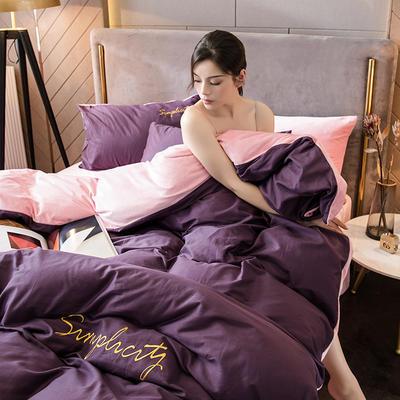 2020新款绒-刺绣款棉加绒系列四件套 1.5m床单款四件套 棉加绒-深紫+粉玉
