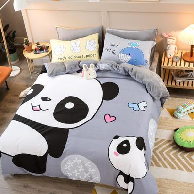 A棉大版B绒系列四件套 1.2m床单款三件套 绒-欢乐玩伴