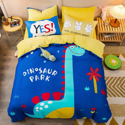 A棉大版B绒系列四件套 1.5m床单款四件套 绒-恐龙乐园