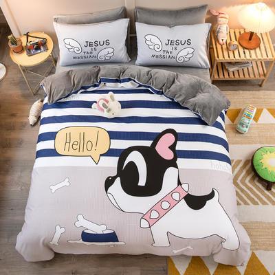 A棉大版B绒系列四件套 1.2m床单款三件套 绒-萌犬