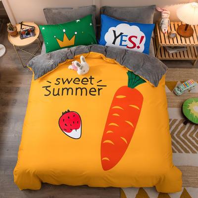 A棉大版B绒系列四件套 1.2m床单款三件套 绒-甜美