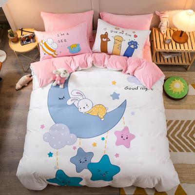 A棉大版B绒系列四件套 1.2m床单款三件套 绒-兔晚安