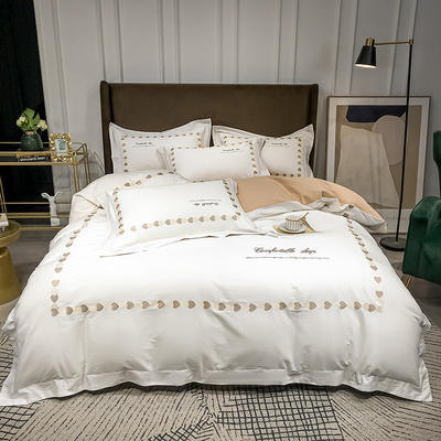 2020新款-全棉爱心刺绣四件套系列 1.8m床单款四件套 爱心-白卡其