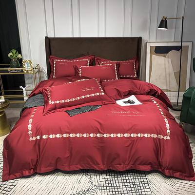 2020新款-全棉爱心刺绣四件套系列 1.8m床单款四件套 爱心-朵红