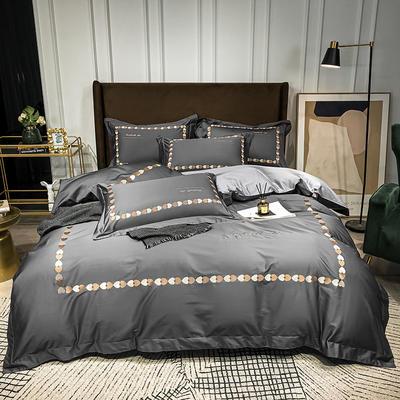 2020新款-全棉爱心刺绣四件套系列 1.8m床单款四件套 爱心-高级银灰