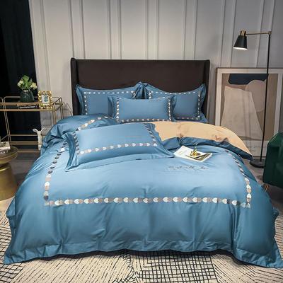 2020新款-全棉爱心刺绣四件套系列 1.8m床单款四件套 爱心-皇家卡其
