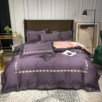 2020新款-全棉爱心刺绣四件套系列 1.5m床单款四件套 爱心-深紫豆沙