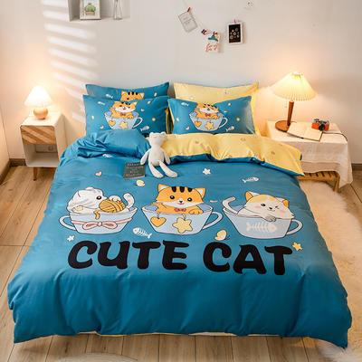 2020新款-活性贡棉卡通大版四件套 1.8m床单款四件套 猫趣