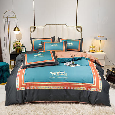 活性轻奢加厚磨毛平网系列四件套 1.8m床单款四件套 彼得盛典