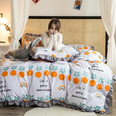 2020新款-A磨毛B绒系列四件套 1.8m床单款四件套 英文橘子