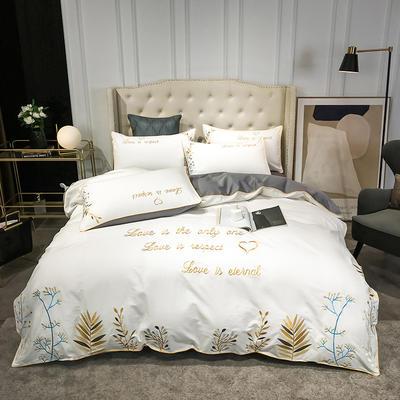 全棉森系列刺绣款四件套 1.8m床单款四件套 森-白高级灰
