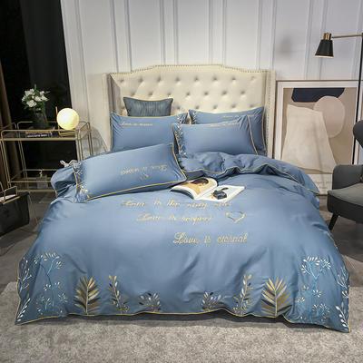 2020新款-全棉森系列刺绣款四件套 1.8m床单款四件套 森-皇家蓝