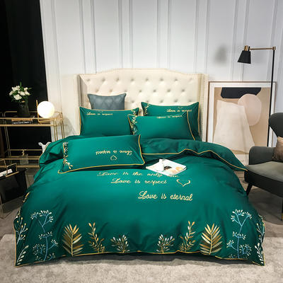 全棉森系列刺绣款四件套 1.8m床单款四件套 森-墨绿