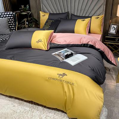 2020新款-全棉M系列刺绣款版四件套 1.8m床单款四件套 M-灰黄