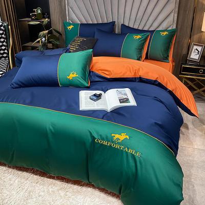 2020新款-全棉M系列刺绣款版四件套 1.8m床单款四件套 M-丈绿