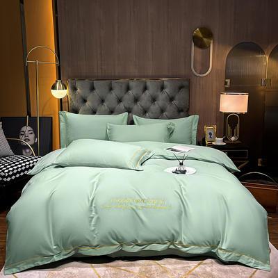 2020新款-全棉GD系列刺绣款四件套 1.5m床单款四件套 GD-薄荷绿