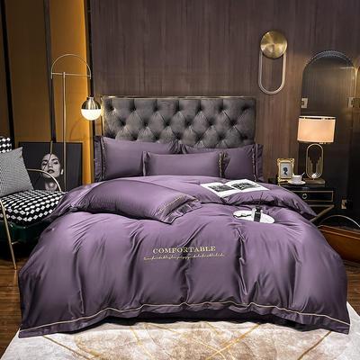 2020新款-全棉GD系列刺绣款四件套 1.5m床单款四件套 GD-深紫