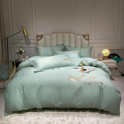 全棉轻羽系列刺绣款四件套 1.2m床单款三件套 轻羽-薄荷绿