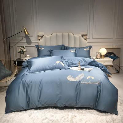 全棉轻羽系列刺绣款四件套 1.5m床单款四件套 轻羽-皇家蓝
