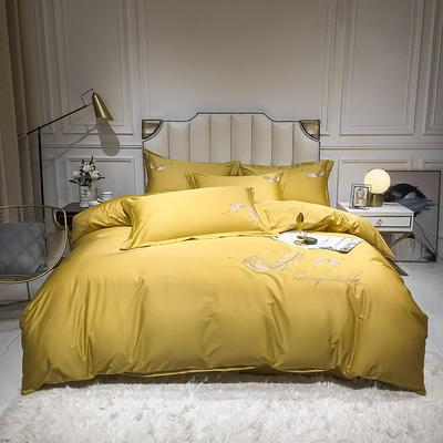 全棉轻羽系列刺绣款四件套 1.2m床单款三件套 轻羽-姜黄
