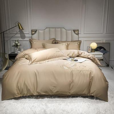 全棉轻羽系列刺绣款四件套 1.2m床单款三件套 轻羽-卡其