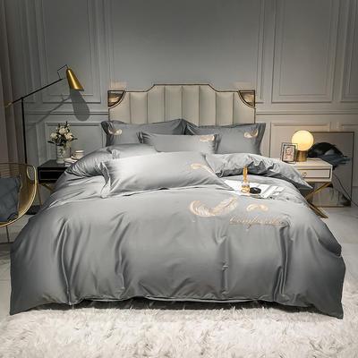 全棉轻羽系列刺绣款四件套 1.2m床单款三件套 轻羽-银灰