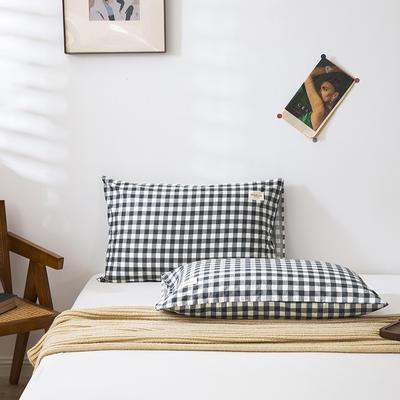 全棉简约无印织标系列(单枕套) 48*74cm/对 奥格利