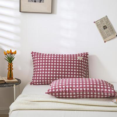 全棉简约无印织标系列(单枕套) 48*74cm/对 红格