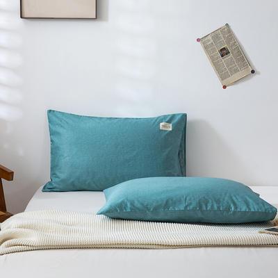 全棉简约无印织标系列(单枕套) 48*74cm/对 蓝调
