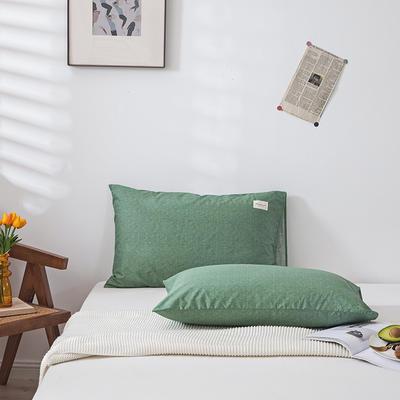 全棉简约无印织标系列(单枕套) 48*74cm/对 绿植
