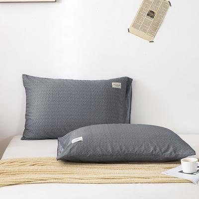 全棉简约无印织标系列(单枕套) 48*74cm/对 炫灰