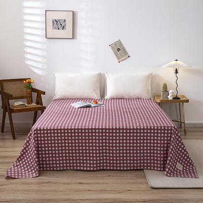 全棉简约无印织标系列(单床单) 120cmx230cm 红格