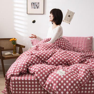 全棉简约无印织标系列(四件套) 1.2m床单款四件套 红格