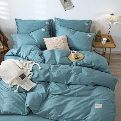 全棉简约无印织标系列(四件套) 1.2m床单款四件套 蓝调