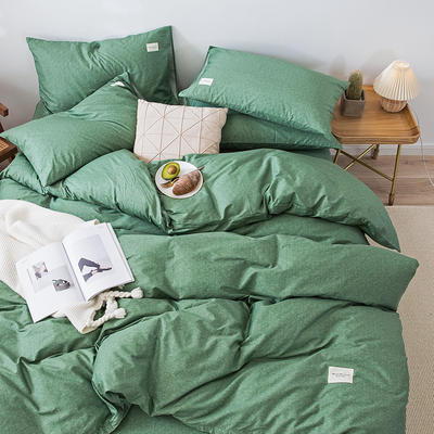 全棉简约无印织标系列(四件套) 1.2m床单款四件套 绿植