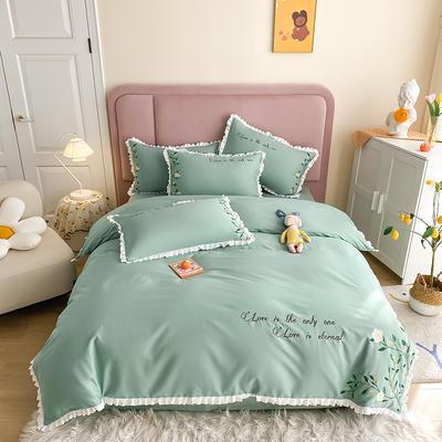 全棉花语刺绣款 1.8m床单款四件套 花语-薄荷绿