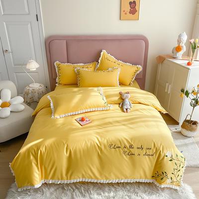 全棉花语刺绣款 1.8m床单款四件套 花语-菜花黄