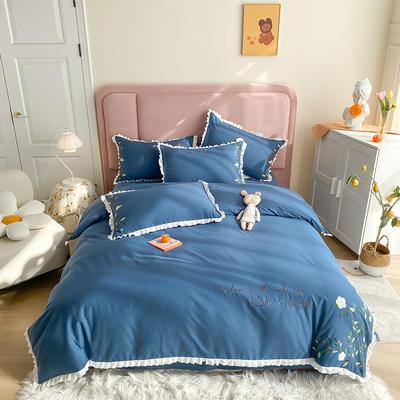 全棉花语刺绣款 1.8m床单款四件套 花语-皇家蓝