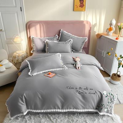 全棉花语刺绣款 1.8m床单款四件套 花语-银灰