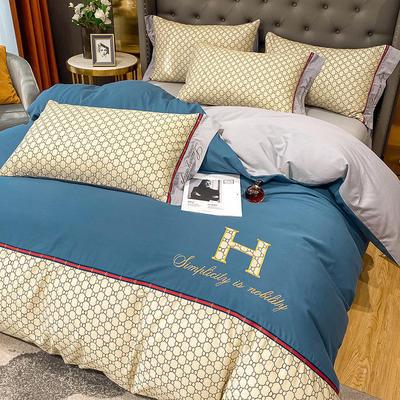 全棉凯仕印加绣系列 1.8m床单款四件套 凯仕-皇家蓝