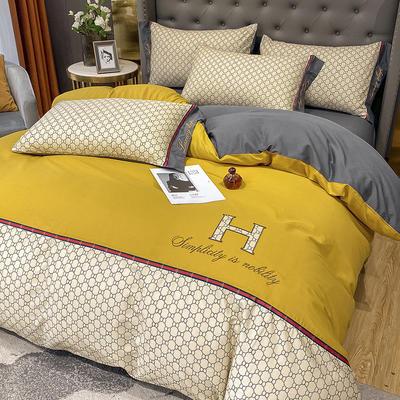 全棉凯仕印加绣系列 1.8m床单款四件套 凯仕-姜黄