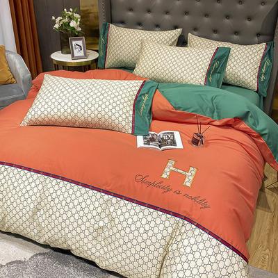 全棉凯仕印加绣系列 1.8m床单款四件套 凯仕-桔色