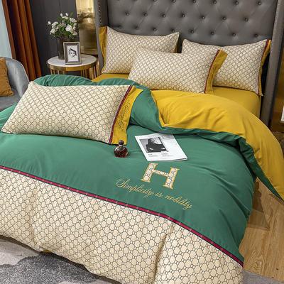 全棉凯仕印加绣系列 1.8m床单款四件套 凯仕-墨绿