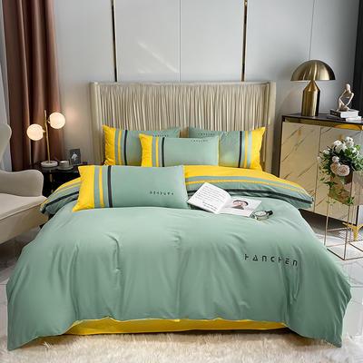 全棉蔚蓝工艺款 1.8m床单款四件套 蔚蓝-薄黄