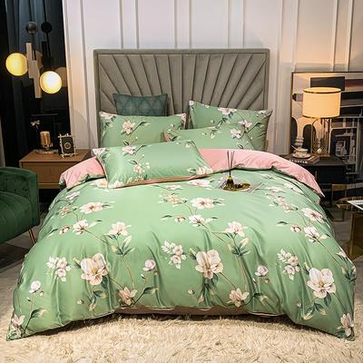圆网水洗真丝四件套 1.8m床单款四件套 晨露新妆-绿