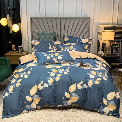 圆网水洗真丝四件套 1.8m床单款四件套 叶语魅人