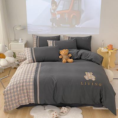 全棉巴莉熊系列四件套 1.8m床单款四件套 巴莉熊-高级灰
