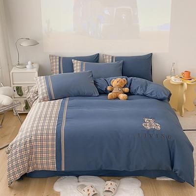 全棉巴莉熊系列四件套 1.8m床单款四件套 巴莉熊-皇家蓝