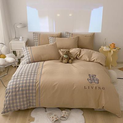 全棉巴莉熊系列四件套 1.8m床单款四件套 巴莉熊-卡其