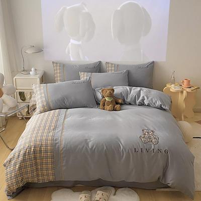 全棉巴莉熊系列四件套 1.8m床单款四件套 巴莉熊-银灰